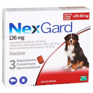 Nexgard Large Dog XL Caine 136 Mg (25-50 Kg) - 3 Comprimate Masticabile